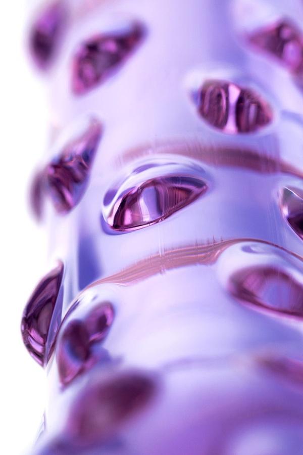 Фиолетовый стеклянный фаллоимитатор с шишечками - 19,5 см.