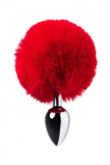 Серебристая анальная втулка TOYFA Metal с красным хвостиком