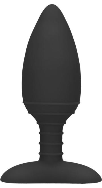 Черная анальная пробка Glow с вибрацией и подогревом - 12 см.