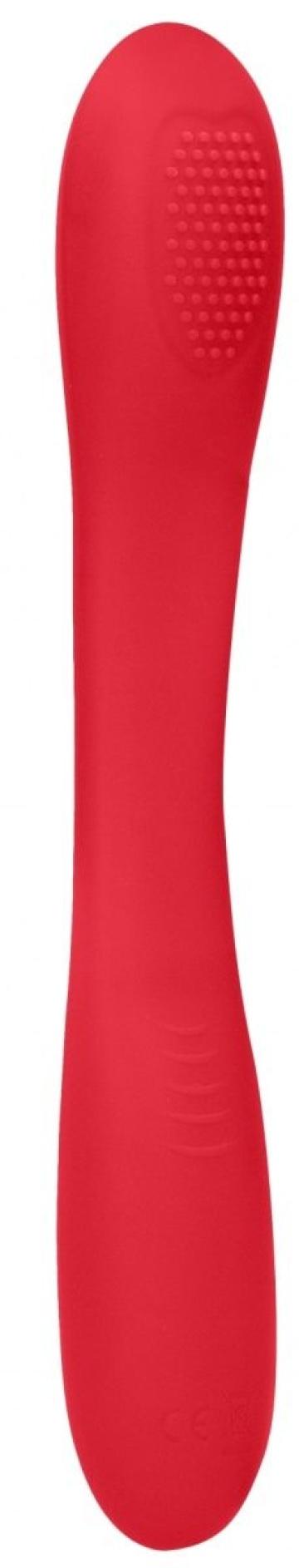 Красный двухсторонний вибратор Flex - 21,5 см.
