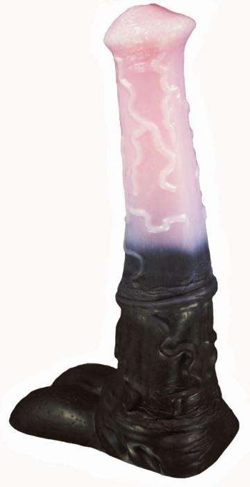 "Черно-розовый фаллоимитатор ""Мустанг large"" - 43,5 см."