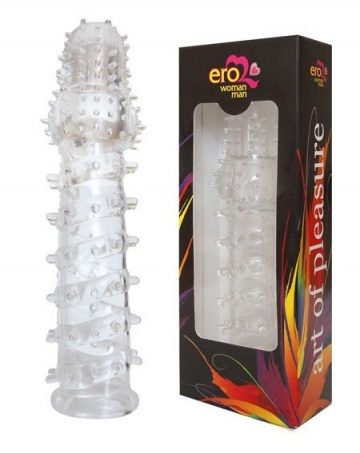 Закрытая прозрачная рельефная насадка с шипиками Crystal sleeve - 13,5 см.