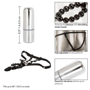 Трусики с перезаряжаемой вибропулей и стимулирующими бусинами Rechargeable Lovers Cheeky Panty with Stroker Beads