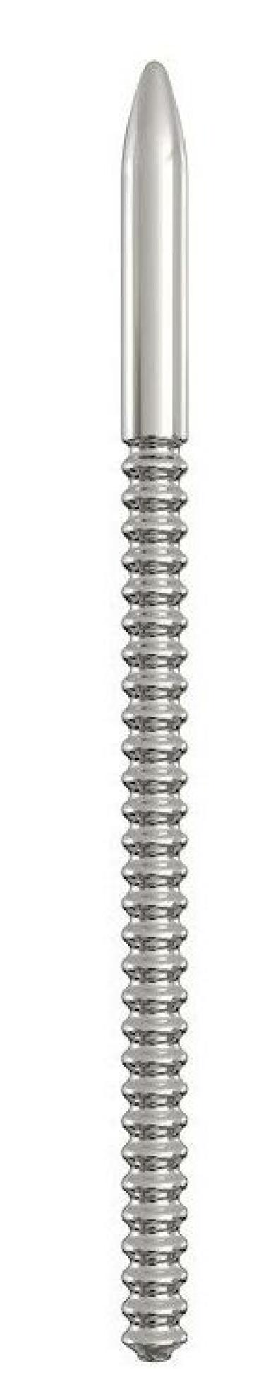 Серебристый уретральный винтовой плаг - 14,9 см.