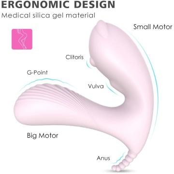 Нежно-розовая вибропробка CARA с клиторальным отростком и пультом ДУ