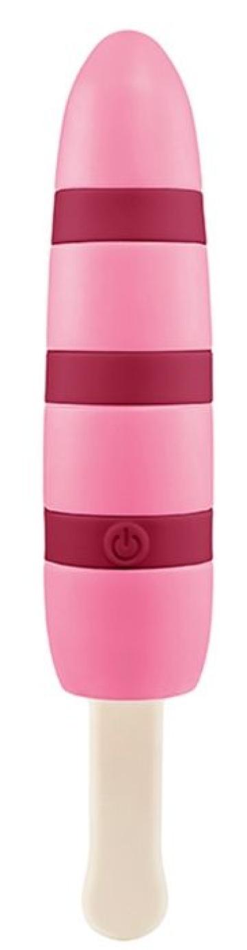 Оригинальный розовый вибромассажер-эскимо - 15,5 см.