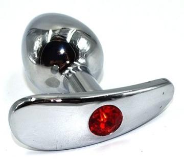 Серебристая анальная пробка для ношения из нержавеющей стали с красным кристаллом - 8 см.