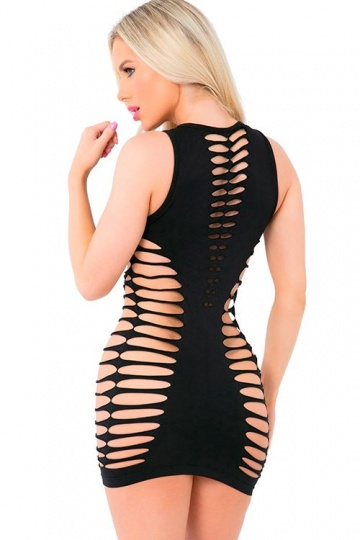 Бесшовное мини-платье с перфорацией