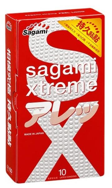 Утолщенные презервативы Sagami Xtreme Feel Long с точками - 10 шт.