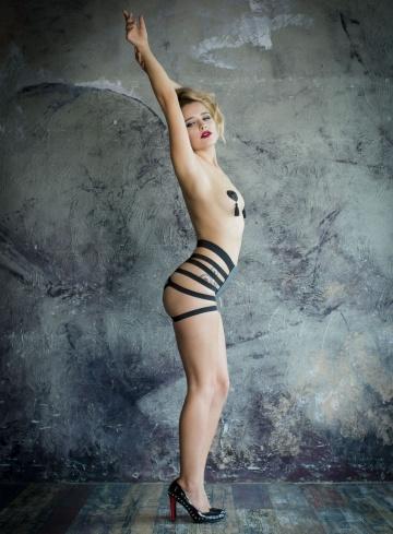 Черно-серые трусики для страпона Madly - размер S-M