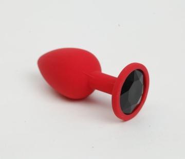 Красная анальная пробка с черным стразом - 7,6 см.