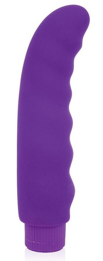 Фиолетовый изогнутый ребристый вибромассажер - 15 см.
