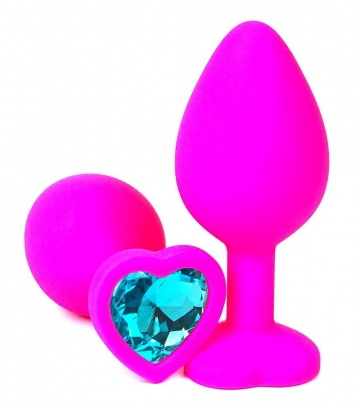 Розовая силиконовая пробка с голубым кристаллом-сердцем - 10,5 см.