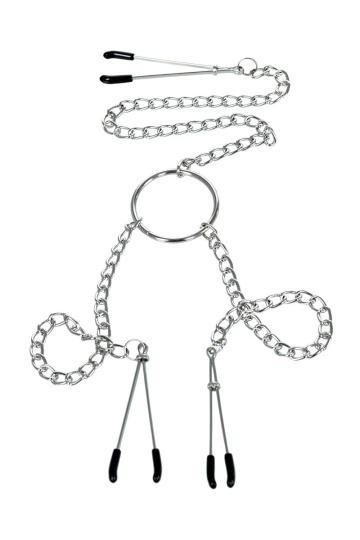 Серебристые зажимы для сосков и клитора на цепочке