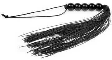Черная многохвостая плеть с рукоятью-шариками - 35 см.