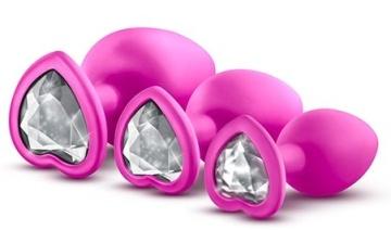Набор розовых анальных пробок с прозрачным кристаллом-сердечком Bling Plugs Training Kit