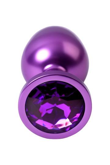 Фиолетовый анальный плаг с кристаллом фиолетового цвета - 8,2 см.