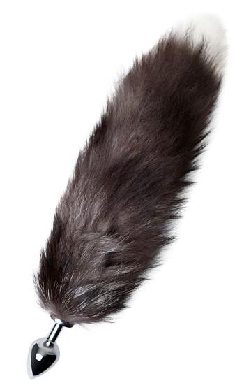 Серебристая металлическая анальная втулка с хвостом чернобурой лисы - размер M