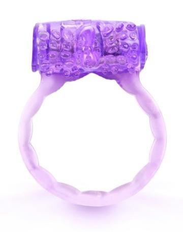 Фиолетовое эрекционное кольцо c вибропулей