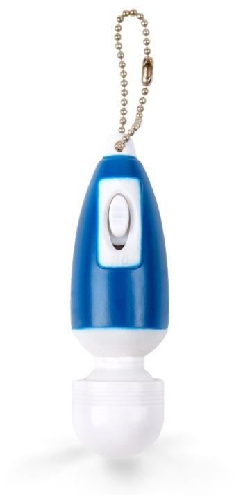 Сине-белый мини-вибратор в форме брелка