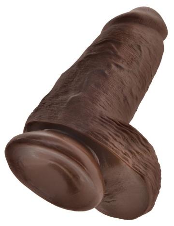 Коричневый фаллоимитатор на присоске Chubby - 22,9 см.