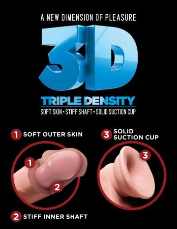 "Телесный фаллоимитатор на присоске 9"" Triple Density Cock with Balls - 24,1 см."