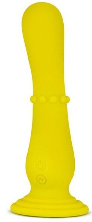 Желтый вибратор на присоске Nude Impressions 04 - 18 см.