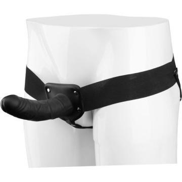 Черный полый страпон VIBRATING HOLLOW STRAP-ON с вибрацией - 16 см.