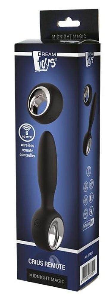Черный анальный вибромассажер CRIUS REMOTE - 9,5 см.