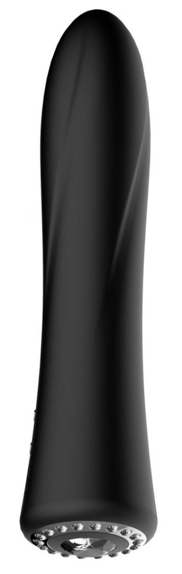 Черный классический вибромассажер Jewel - 19,5 см.
