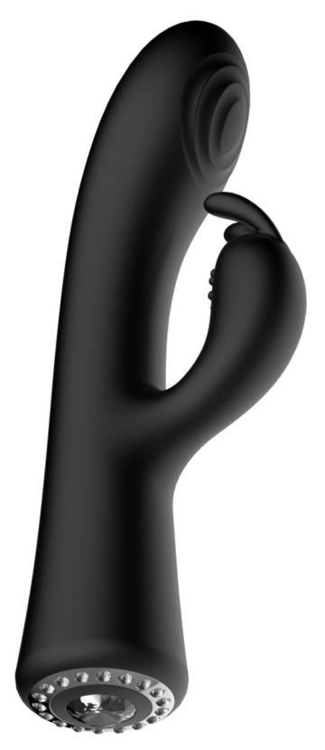 Черный вибромассажер-кролик Lux - 20 см.