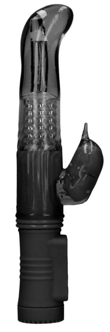 Черный вибратор-кролик Rotating Dolphin - 23 см.