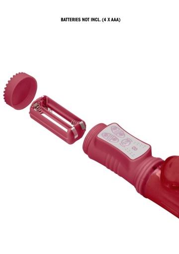 Красный вибратор-кролик Rotating Beetle - 22 см.