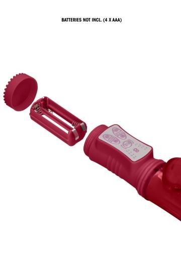 Красный вибратор-кролик Rotating Bubbles - 23,2 см.
