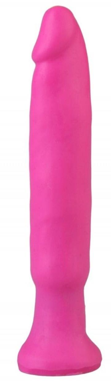 Ярко-розовый анальный стимулятор без мошонки - 14 см.
