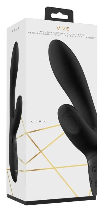 Черный вибромассажер Kyra - 21,3 см.