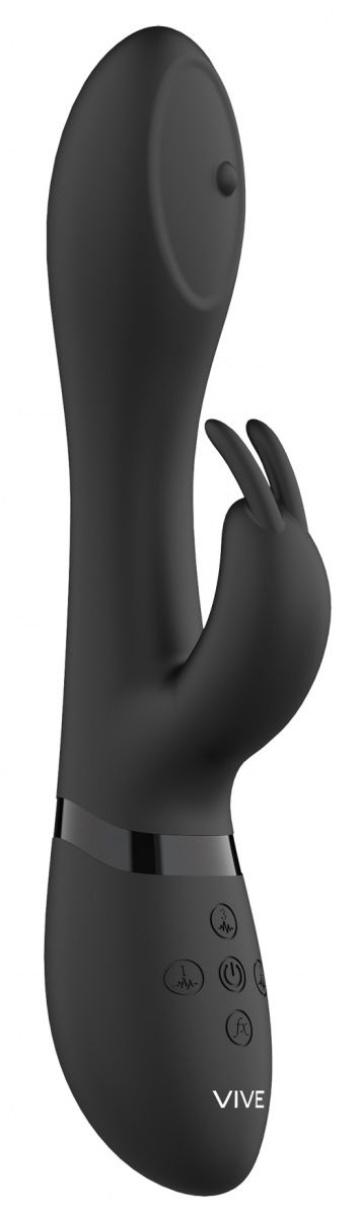 Черный вибромассажер-кролик Mira - 21,5 см.