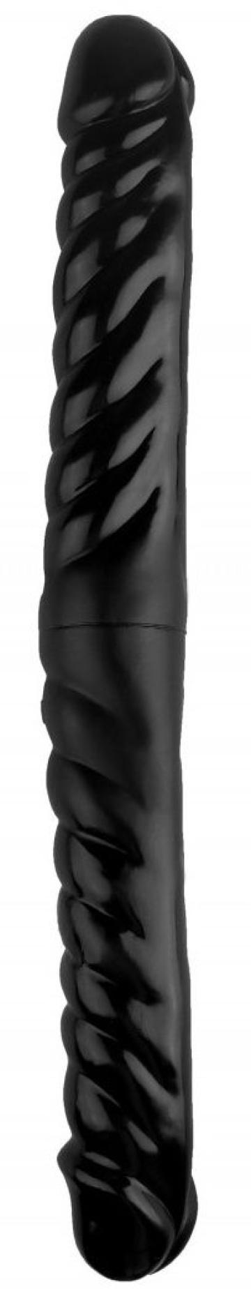 Черный двухсторонний спиралевидный фаллоимитатор - 43 см.