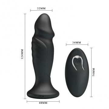 Черная анальная втулка с 12 режимами вибрации Mr Play - 12,4 см.