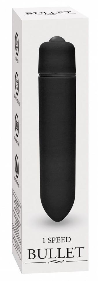 Черная вибропуля Speed Bullet - 9,3 см.
