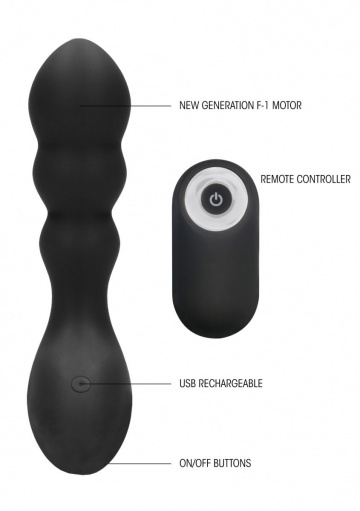 Черный массажер простаты с пультом N 78 Rechargeable Anal Stimulator - 12 см.