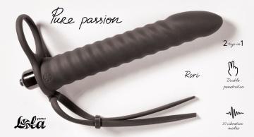Черная вибронасадка для двойного проникновения Rori - 17 см.