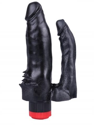 Черный сдвоенный вибратор №11 - 15,5 см.