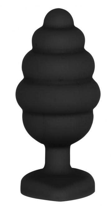 Черная анальная пробка Large Ribbed Diamond Heart Plug - 8 см.