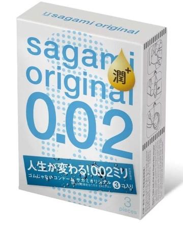 Ультратонкие презервативы Sagami Original 0.02 Extra Lub с увеличенным количеством смазки - 3 шт.