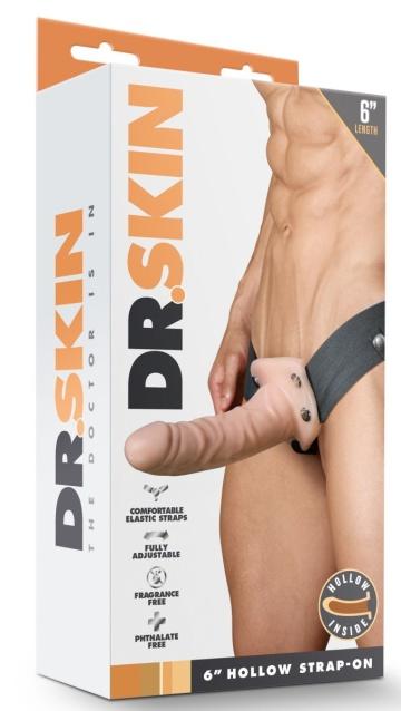 Телесный полый страпон Dr. Skin 6 Inch Hollow Strap On - 15,2 см.