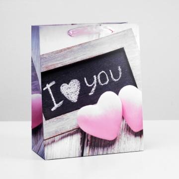 """Подарочный пакет """"I love you"""" - 32 х 26 см."""