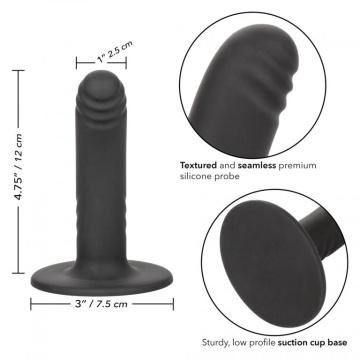"""Черный анальный стимулятор 4.75"""" Ridged Probe - 12 см."""