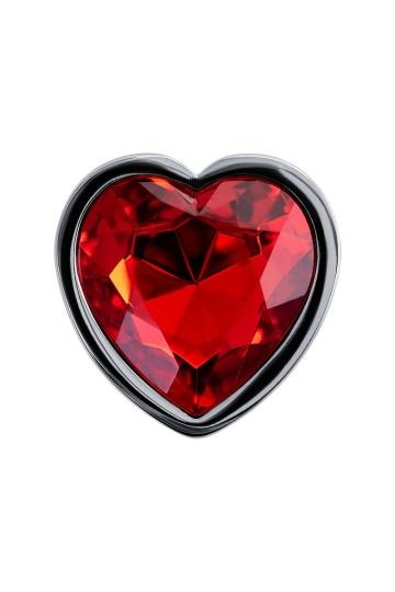 Серебристая гладкая коническая анальная пробка с красным кристаллом - 7 см.