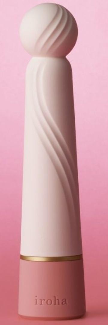 Нежно-розовый вибратор с шаровидной мягкой головкой IROHA Rin+ Sango - 16 см.
